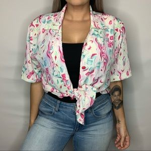Vintage 80s-90s Blouse with attached shoulder pads